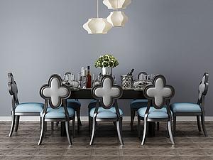 簡歐餐廳餐桌模型3d模型