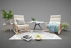 现代简约风格沙发茶几组合模型模型