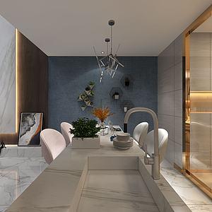 客廳餐廳模型3d模型