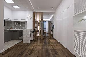 北欧客餐厅厨房吧台隔断模型模型