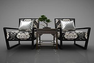 中式沙发模型3d模型