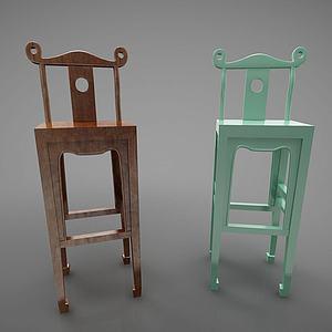 新中式风格吧台椅模型3d模型