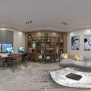 電子閱覽室書架休息區3d模型