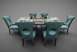 3d<font class='myIsRed'>新中式</font>風格的餐桌模型
