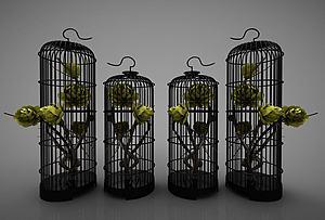 新中式風格的鳥籠裝飾品模型3d模型