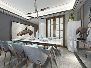 現代簡約客餐廳模型3d模型