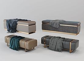 现代新古典欧式床沙发凳模型模型