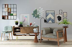 北欧休闲沙发边柜挂饰模型模型