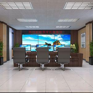 現代簡約監控室3d模型