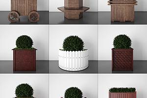 植物盆栽花箱模型模型