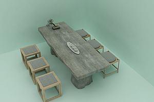 简约创意茶桌模型模型