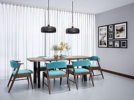 新中式餐桌椅模型模型