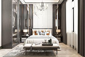 现代风格卧室模型模型