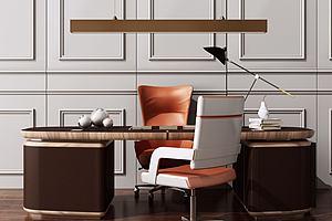 现代美式办公桌椅模型模型