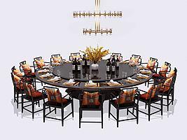 新中式酒店餐桌椅模型模型