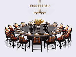 新中式酒店餐桌椅模型3d模型
