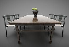 新中式风格的餐桌模型模型