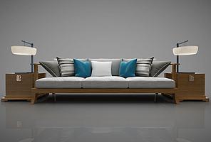 新中式风格的沙发模型模型