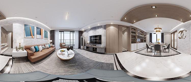 现代客餐厅全景模型