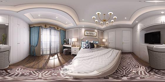 3d简欧卧室全景模型