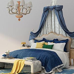 3d歐式床布蔓床幔模型