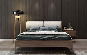 新中式床落地灯组合模型模型