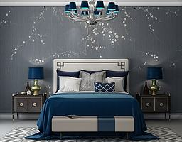 新中式床床头柜模型模型