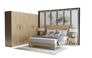新中式实木双人床模型模型
