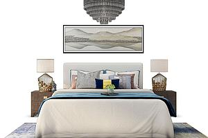 新中式床吊灯组合模型模型