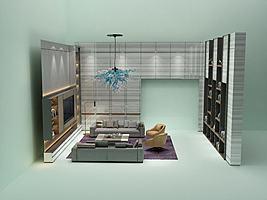 现代简约客厅模型模型
