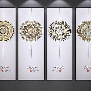 现代中式装饰画模型