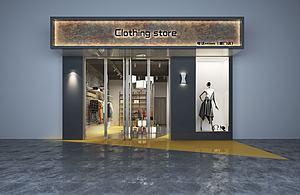 3d服裝店門臉及室內模型