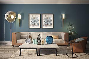现代沙发茶几模型模型