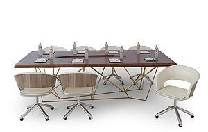 3d會議桌椅子組合模型