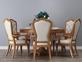 圆形餐桌椅模型模型