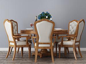 圓形餐桌椅模型3d模型