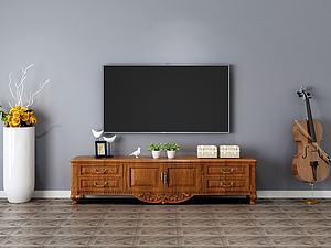 3d實木電視柜組合模型