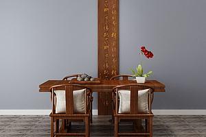 中式餐桌椅模型模型