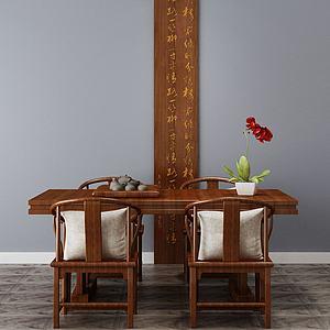 中式餐桌椅模型3d模型