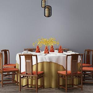3d酒店餐桌椅組合模型