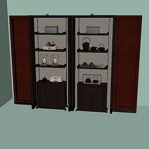 复古摆件酒柜模型