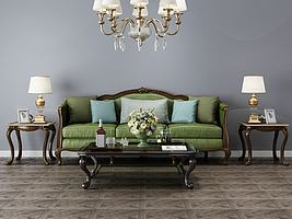 欧式沙发组合模型模型