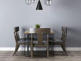 餐桌椅金属模型模型