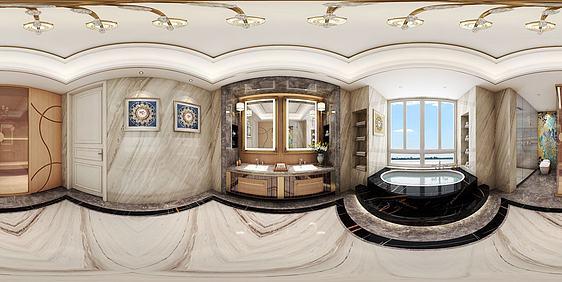 3d新中式卫生间淋浴房全景模型