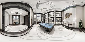 全景新中式桌球室模型3d模型