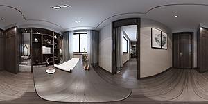 全景中式書房模型3d模型