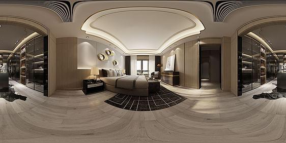 3d全景新中式卧室模型