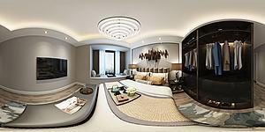 全景新中式臥室模型3d模型