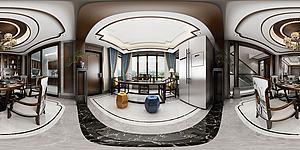 全景新中式茶室模型3d模型