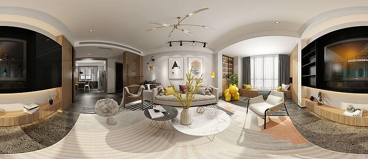 全景北欧客厅模型